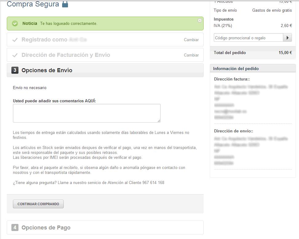 Proceso de compra: Opciones de envío