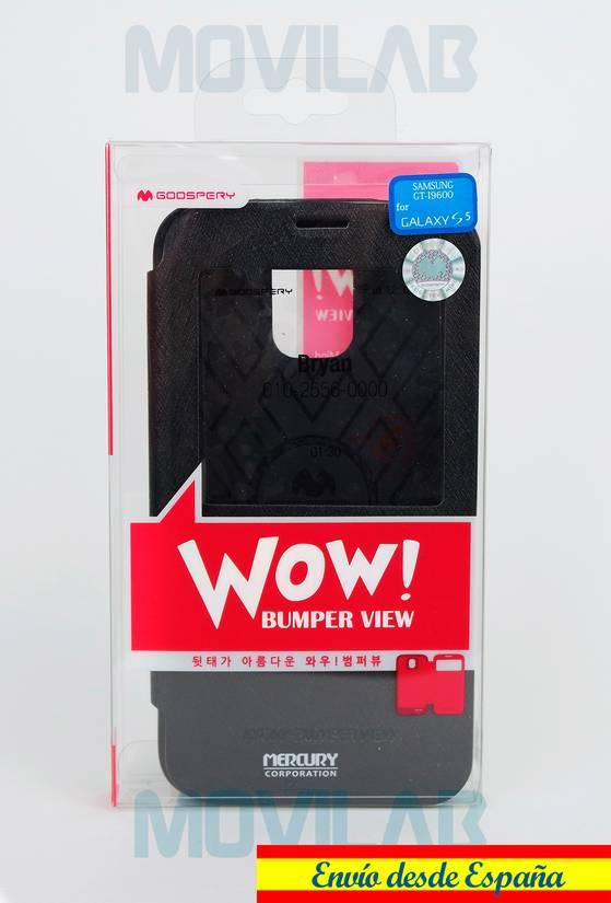 Funda tapa libro ventana Galaxy S5 caja
