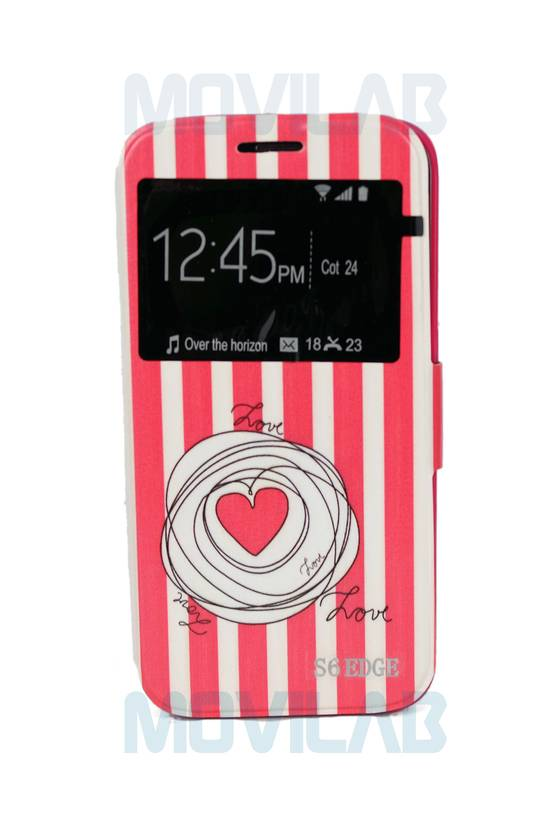 Funda tapa libro ventana Galaxy S6 Edge frontal