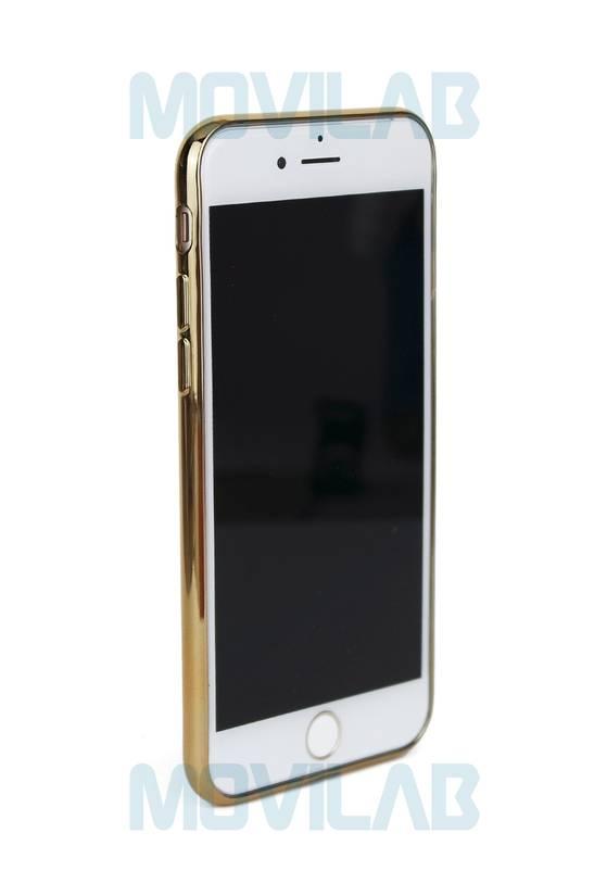 Funda gel Apple Iphone 7 borde dorado
