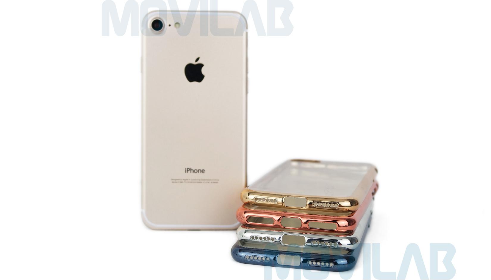 Funda gel Apple Iphone 7 borde metalizado