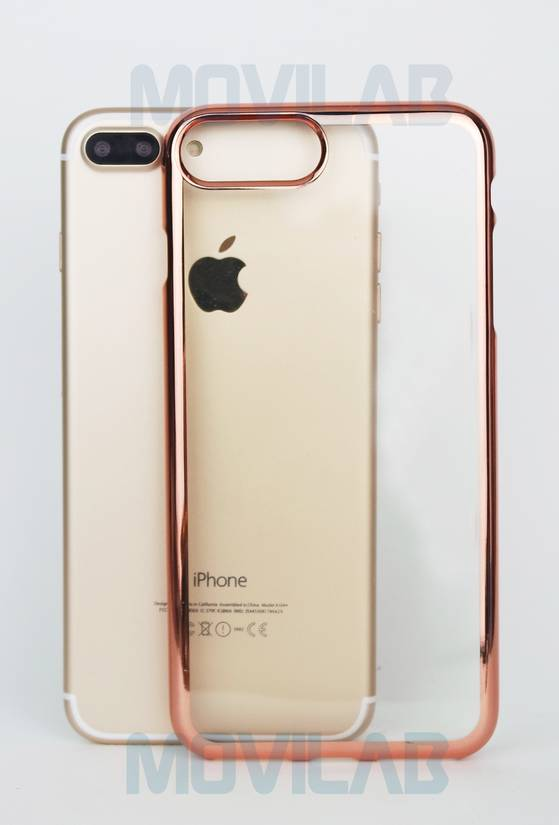 Funda gel Apple Iphone 7 plus borde metalizado