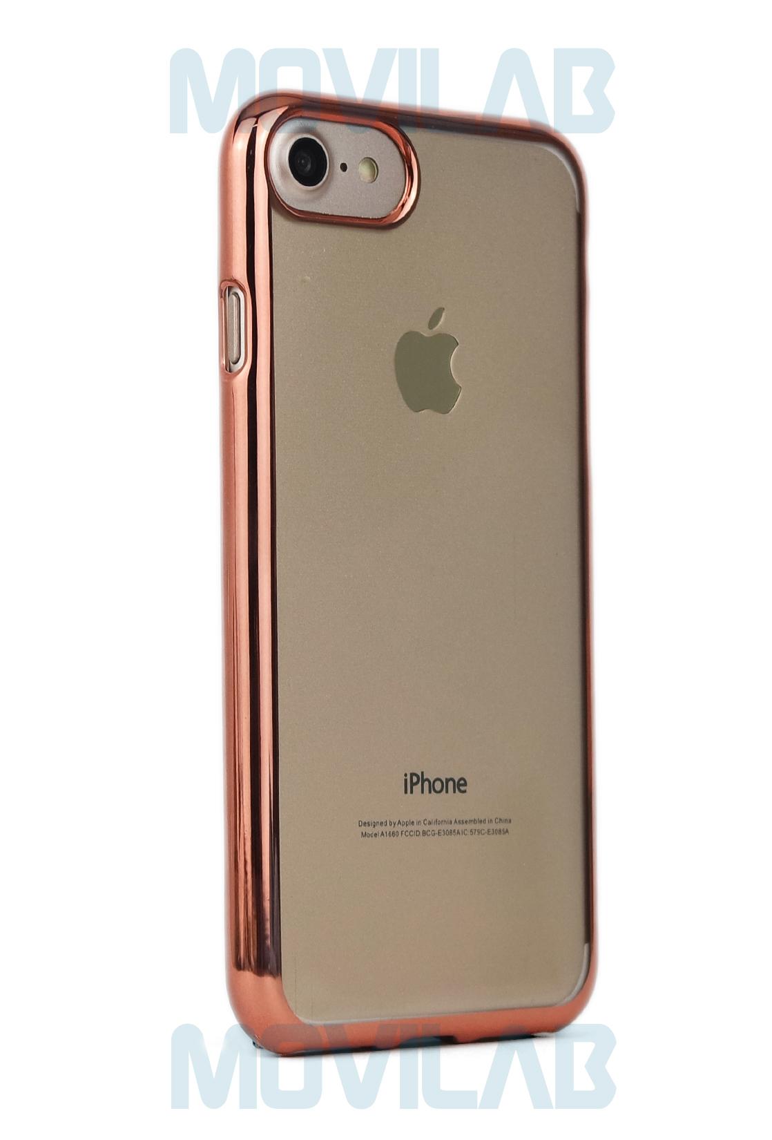 Funda gel Apple Iphone 7 rosa trasera