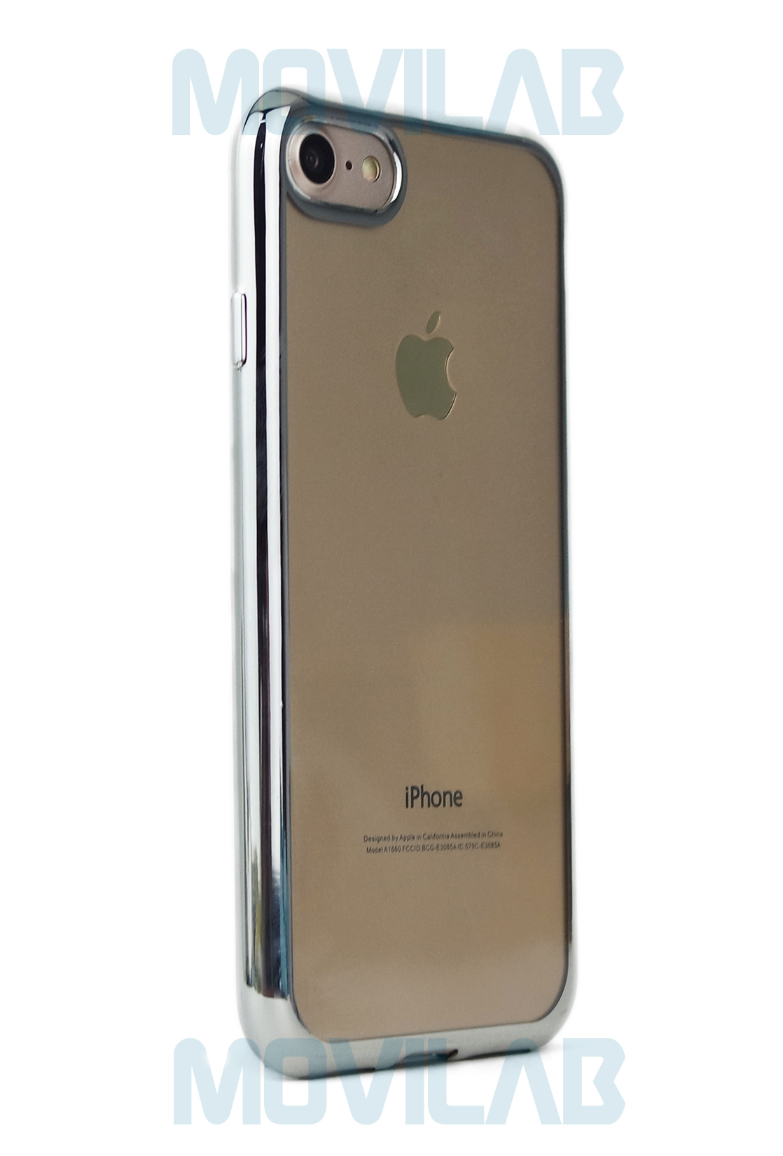 Funda gel Apple Iphone 7 plata trasera