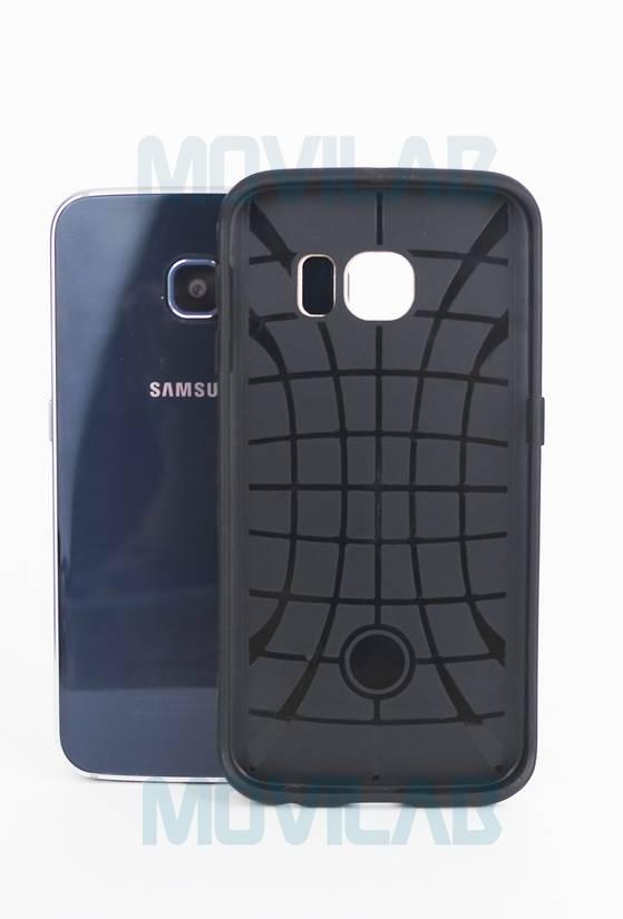 Funda aluminio Motomo Galaxy S6 Edge goma