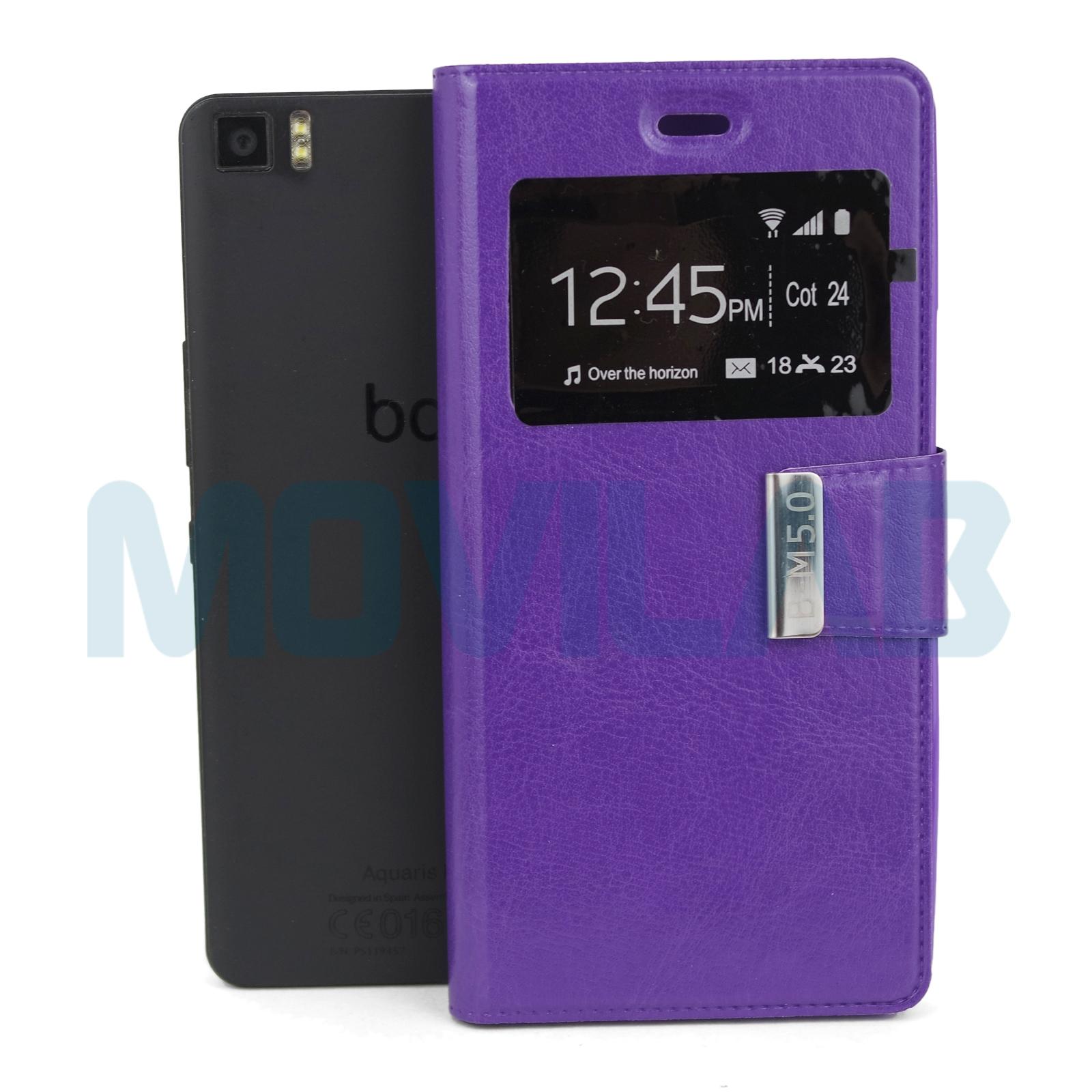 Funda BQ M5 libro violeta