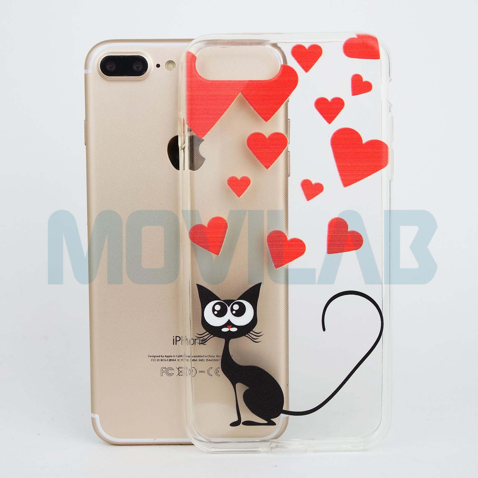 5ad48807420 Funda Apple Iphone 7 / 8 Plus 5.5´ TPU transparente dibujos Gato y Corazones