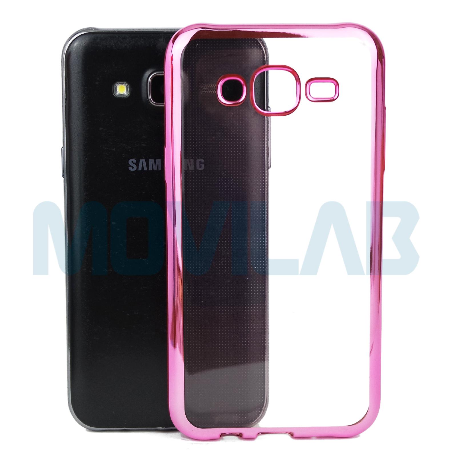 Funda Galaxy J5 transparente borde rosa